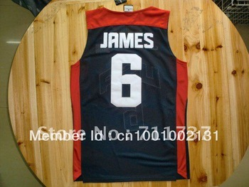 Free Shipping,Wholesale Basketball Jersey,Top quality,USA 2012 Olympic Games #6 Lebron James Jersey,Embroidery logos,Size 44-56