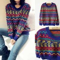 Women Sweater [SEKKES] 2015 Fashion Pullover Vintage Geometric Sweater For Women Knitwear  FG01