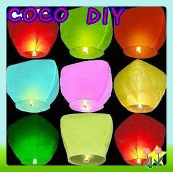 Mulan'S Mixed Color UFO Sky Wishing Lantern Chinese Lantern Birthday Wedding Xmas Halloween Lamp