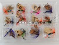 12pcs/dozen Fly Fishing Hooks Fishing Lures Feather Bait Hook Free Shipping
