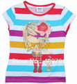 FREE SHIPPING K2741# Nova kids wear children clothing summer stripe printed short sleeve girl t-shirt