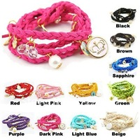 Factory Direct Fashion Multilayer Bracelet Braid Bracelet Wristband Leather Charm Bracelet Knit Bracelet 12pcs/lot