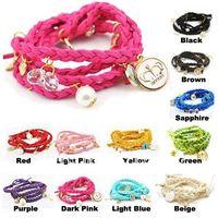 Factory Direct Fashion Multilayer Bracelet Braid Bracelet Wristband Leather Charm Bracelet Knit Bracelet 12pcs/lot