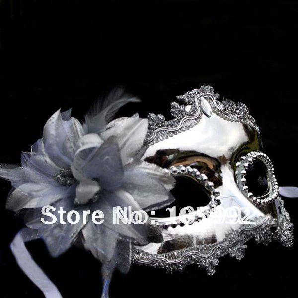 Wholesale - Golden/Silver Side brought flowers mask 10pcs VintageCarnival Mask Venetian Mask(China (Mainland))