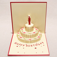 Handmade Kirigami & Origami 3D Pop UP Birthday Cards with Candle Design For Birthday Party Free Shipping (set of 10)