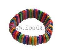 Shell Bracelet, stretch bracelet, colorful style, 20mm, Sold by Bag