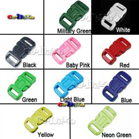 "1/2""Plastic Contoured Curved Side Release Buckles For Paracord Bracelet  Webbing 11mm 1,000pcs Pack #FLC039--C(Mix-s)"