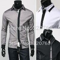 NEW Men's Slim Luxury Stylish gray Dress Shirts,fashionable long-sleeved Shirts FOR MEN,