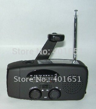 Free shipping! Emergency Hand Crank Solar Dynamo Power Radio w/LED Flashlight & Cell Phone Chargers(China (Mainland))