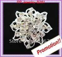 Silver Plated 12PCS/LOT Clear Crystal Rhinestone Beautiful Flower Brooch Free Shipping Hot Sale Pin Brooches!!