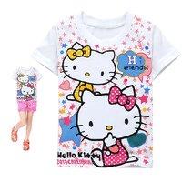 girls t shirt children cartoon hello kitty t shirt,100%cotton Short sleeve tops for girls,6pcs/lot mix 6size free shipping
