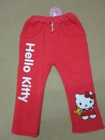 kids pants girls cartoon hello kitty pants,children flannelette pants for  Autumn and winter,6pcs/lot  free shipping by ems