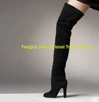 2013 New Style Over the Knee Suede Boots Dress Thick Heel Thigh High Boots