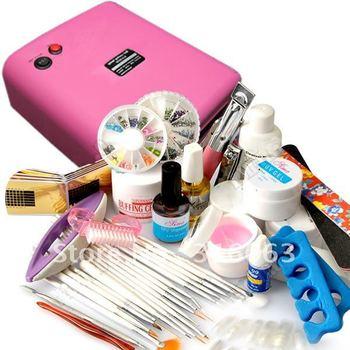 Full Set UV Gel klt Brush Pen Nail Art DIY Manicure set  + 36w pink uv gel lamp NA442+NA431