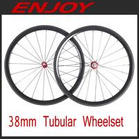Road bike Carbon 38mm tubular wheel  20/24 external holes, 3k/UD, free shipping~!!!