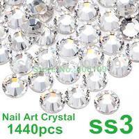 Super Shiny 1440PCS SS3 (1.3-1.4mm) Clear Glitter Non Hotfix Crystal Color 3D Nail Art Decorations Flatback Rhinestones