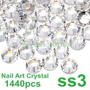 Super Shiny 1440PCS SS3 (1.3-1.4mm) Clear Glitter Non Hotfix Crystal Color 3D Nail Art Decorations Flatback Rhinestones(China (Mainland))