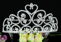 Free Shipping Bridal Wholesale Tall Heart Pageant Beauty Contest Tiara use Austrian Crystal CT1582