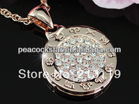 Wholesale Free Shipping Horoscope Rose Gold Plated Austrian Crystals Necklace CSN155