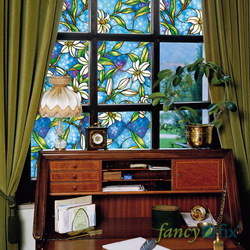 Retail New Arrival, Non Adhesive, Static Cling, 45CM x 100CM Stained Glass Window Film(China (Mainland))