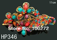 Wholesale hot sell Women Hair Jewelry fashion rhinestone flower hair clip vintage hair accessory 12pcs lot mixed color  HP346