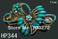 wholesale fashion hair Jewelry Butterfly crystal rhinestone alloy hair clip hair accessory Free shipping 12pcs/lot  HP344