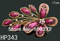 Wholesale woman hair Jewelry Butterfly crystal rhinestone hair clip hair accessory  Free shipping 12pcs/lot Mixed colors HP343