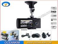 Dual channel car cameras Video DVR X3000 black box with GPS and 3D G-sensor car DVR