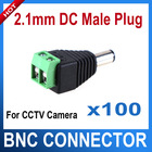 100pcs/lot 5.5/2.1mm DC Connector CCTV UTP Cable Power Plug Adapter Cable DC/AC 2/Camera Video Balun Connector(China (Mainland))