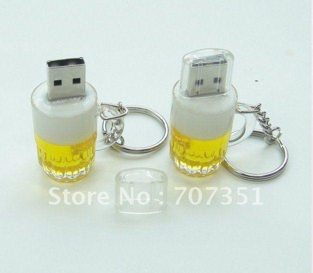 Free shipping  Real 4GB/8GB/16GB/32GB USB flash drive pen drive memory stick cartoon Beer mug model