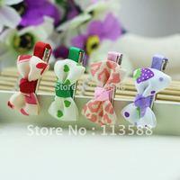 100pcs/lot  HA0023 Free shipping  4.5-5cm children baby infant ribbon bowknot grape heart hair clips for girls