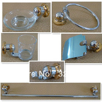 Free Shipping!6pcs metal golden bathroom accessories set,chrome finished