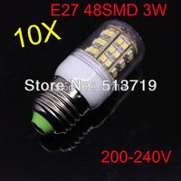 Free Shipping 10pcs/Lot SMD 3528 48 LED 200-240V LED Spot Light E27 Bulb Lamp 480LM Warm White