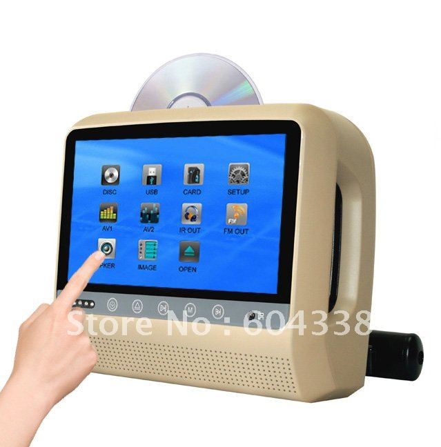 9 inch 800*480 headrest player with bracket,touch screen,touch button,DVD+GAMES+SD+USB+Dual IR+ FM transmitter+MP4/MP5+DIVX(China (Mainland))