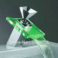 Diamond Style Handles LED Water Power Bathroom  Basin Sink Mixer Tap Faucet CM0222 Faucet