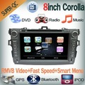 2Din in dash Car DVD for toyota Corolla  with 8inch screen GPS+TV+RDS+IPOD+USB+SD