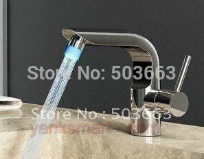 NO Need Battery 3 Colors Polished Chrome LED Bathroom  Basin Sink Mixer Tap Faucet  CM0243 Mixer Tap Faucet