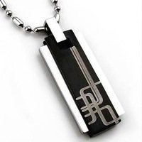 BHP302 Fashion Men 316L Stainless Steel Pendant Necklace Black Color