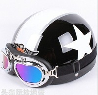 Wholesales Free shipping ABS motorbike helmet + color goggle and neck cloth for free star desin novelty helmet summer helmet