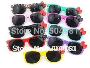 33 colors Free shipping Pretty Hello Kitty cat sunglasses, sun glasses with bowknot, sun wear 100% UV400 protection Eyeglasses