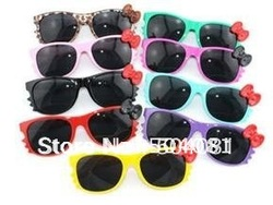 33 colors Free shipping Pretty Hello Kitty cat sunglasses, sun glasses with bowknot, sun wear 100% UV400 protection Eyeglasses(China (Mainland))