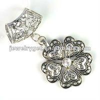 Fashion alloy flower pendant charm for scarves, pt-616