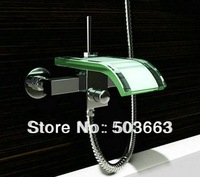 Free Shipping Wall-mounted Waterfall Glass Mixer Tap Bath Tub Faucet CM0319