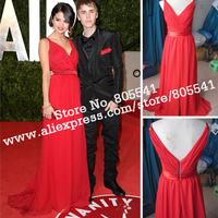 Real Photo New Style Designer Selena Gomez Oscar Chiffon Red Carpet Dresses Celebrity Dresses UD4228 ON SALE