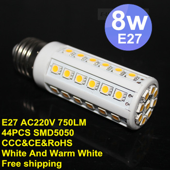 100pcs / lots 220V 750LM 44*SMD5050 8W LED Corn Bulb Light E27 LED Lamp Cool White Warm White ,Free Shipping