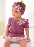 baby suits baby clothes baby 3pcs sets,headband + top + short pants wholesale summer new product hot sell !
