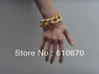 New Arrival Fashion Shiny Women Men Cut  Gold Plated Hand Chain Jewelry Chunky Aluminium Curb Wrist Chain Bracelets
