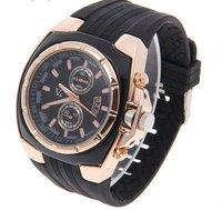 Vogue V6 Strips Hour Marks Round Dial Golden Case  Quartz Hours Analog Silicone fashion Watch Men luxury wristwatches