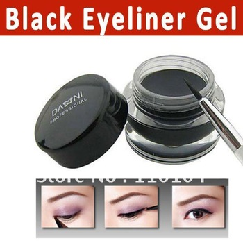 Free shipping 5G Waterproof black eyeliner gel with brush Fluidline Make-up eyeliner