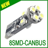 Free shipping wholesale 100pcs Long-lasting T10 W5W 194  8 SMD 3528 no Error canbus white led car light